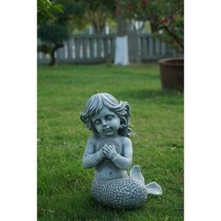 12 75 Gray Kneeling Mermaid Holding Shell Garden Statue Overstock 29903289