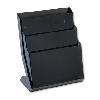 Rubbermaid 16633 Classic hot file three-pocket desktop stand, 16 high, letter size, smoke
