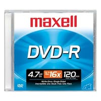 """""""Maxell 638000 Maxell DVD Recordable Media - DVD-R - 16x - 4.70 GB - 1 Pack Jewel Case - 120mm - 2 Hour Maximum Recording Time"""""""