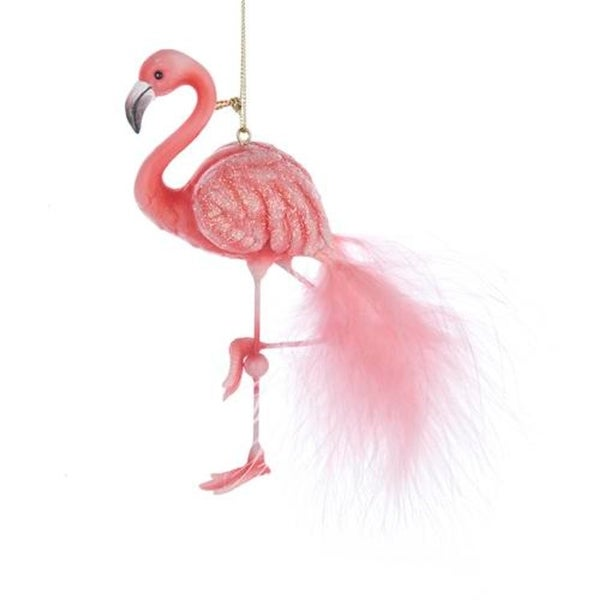 """5.5"""" Tropical Paradise Pink Glittered Flamingo with Feather Tail Christmas Ornament"""