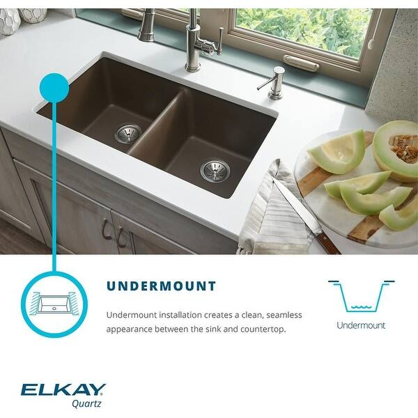 Elkay Elghu3220r Quartz Classic 32 1 2 Undermount Double Basin Quartz Composite Kitchen Sink Overstock 16406534