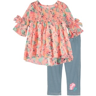 Little Lass Girls 4-6x Printed Tunic Capri Set - Orange