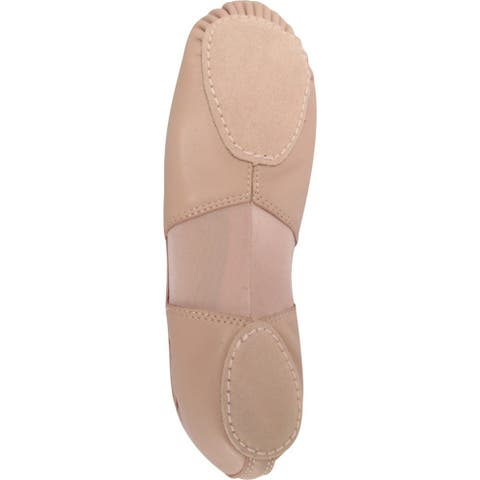 Girls Pink Leather Spandex Split Sole Ballet Shoes 13-4 Kids
