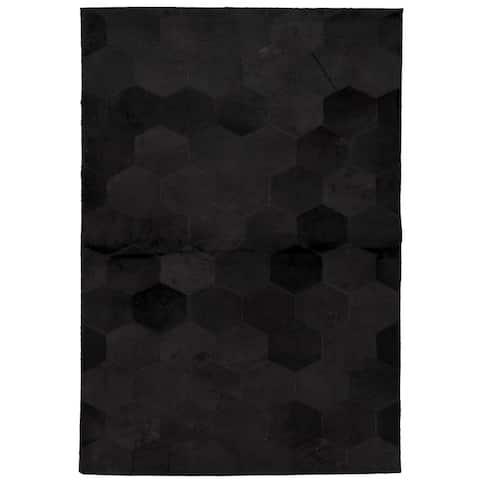 ECARPETGALLERY Handmade Cowhide Patchwork Black Leather Rug - 4'0 x 6'0