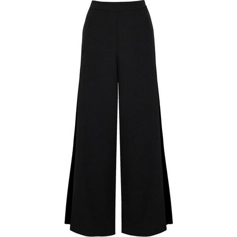 Bishop + Young Black Womens Size XS Wide-Leg Lace-Trim Dress Pants