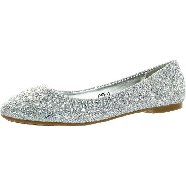 63bc951c56440d Anna Womens Nine14 Sparkle Raindrop Rhinestone Glitter Mesh Loafer Ballet  Flat Dress Shoes