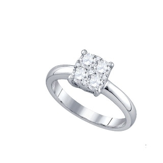 18K White Gold Round Cluster Natural Diamond Womens Bridal Wedding Engagement Ring 3/5 Cttw