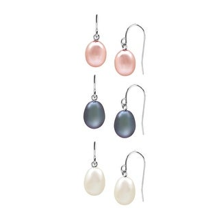 Set of Three 7.5-8 mm Multicolor Freshwater Pearl Drop Earrings in Sterling Silver - multi-color