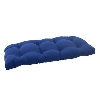 "44"" Traditional Navy Blue Outdoor Patio Tufted Wicker Loveseat Cushion"