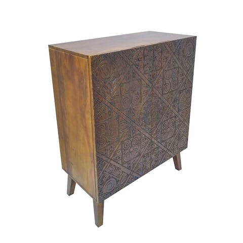 Geometric Engraved 2 Door Wooden Cabinet with Tapered Legs, Brown and Gray