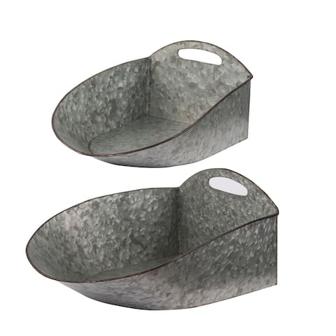 A&B Home Gray Hanging Metal Planters (Set of 2)