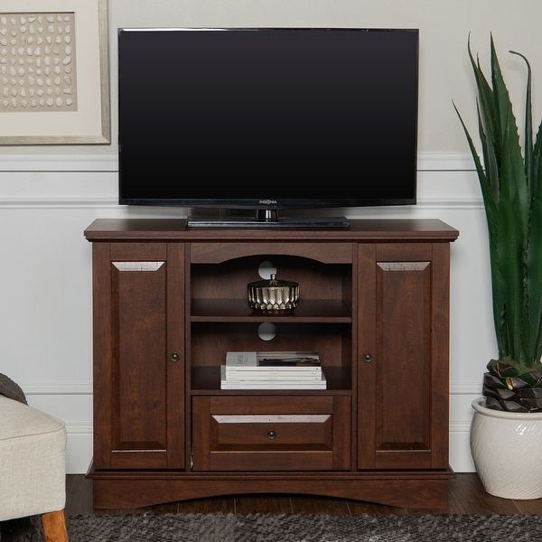 """Copper Grove Angelina 42"""" Traditional Brown Highboy TV Stand Console. Opens flyout."""
