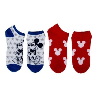Disney Women Mickey Mouse Americana Low-Cut Socks 2-Pack Red/Blue/White 4-10