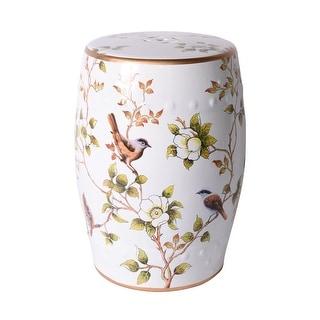 Cream White Garden Stool With Flower and Birds - 13x13x18