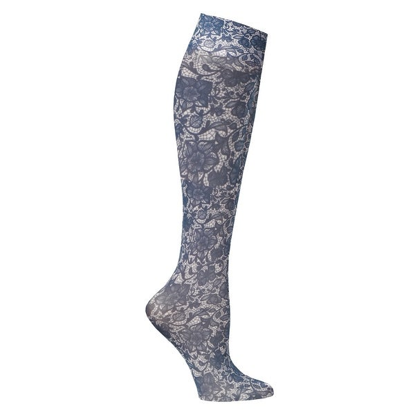 Celeste Stein Women's Mild Compression Knee High Stockings - Navy Lace - Medium