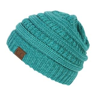 Gravity Threads CC Two Tone Chunky Soft Marled Knit Soft Beanie
