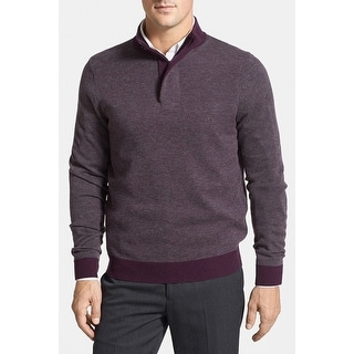 Toscano NEW Solid Purple Porter Mens Size 2XL Henley 1/2 Zip Sweater
