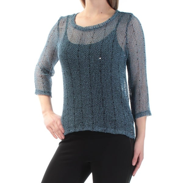 99bb4c11 Shop INC Womens Blue Sequined Crochet 3/4 Sleeve Jewel Neck Top Size: XS -  On Sale - Free Shipping On Orders Over $45 - Overstock - 22423079