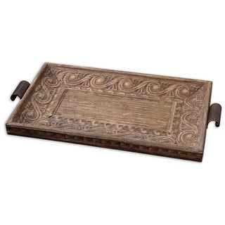 """30"""" Antique-Style Banana Tree Bark Lined Embossed Wooden Serving Tray"""