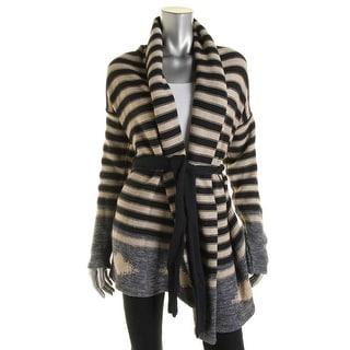 LRL Lauren Jeans Co. Womens Cardigan Sweater Linen Blend Striped