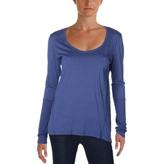 Alternative Apparel Womens Pullover Top Ribbed Trim Long Sleeves