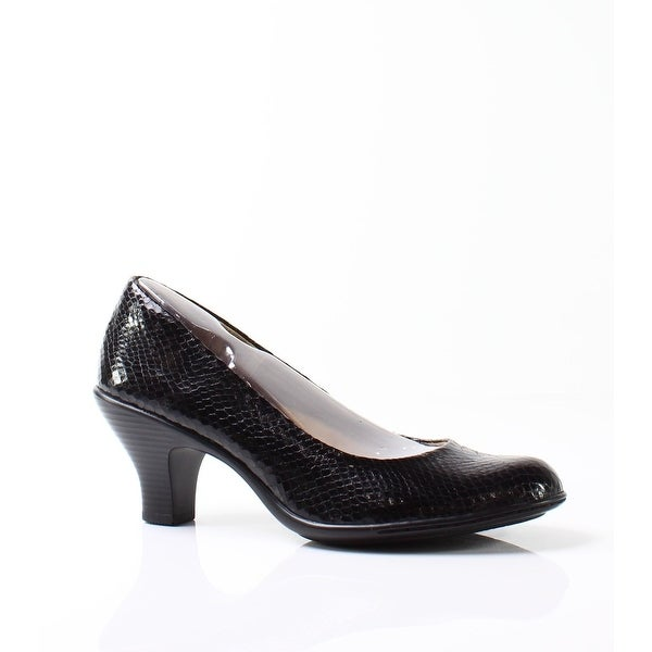 Softspots NEW Deep Black Salude Shoes Size 9N Snake Pumps Heels