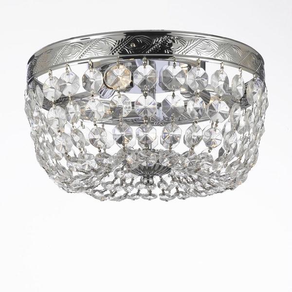 Swarovski Crystal Trimmed French Empire Flush Basket Chandelier!