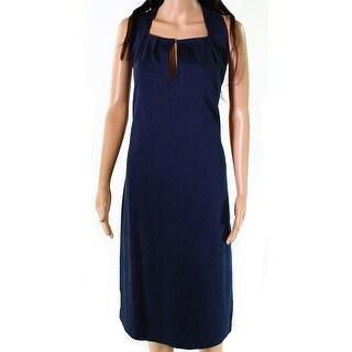 Max Studio Navy Womens Large Split-Neck Sheath Dress