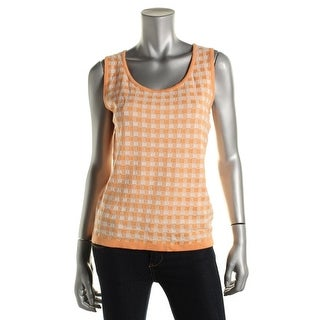 Jones New York Womens Checkered Scoop Neck Tank Top