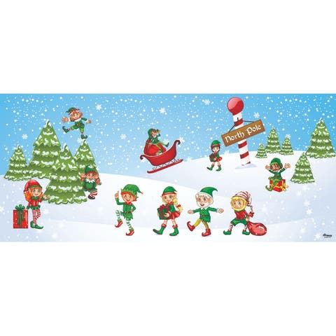 7' x 16' White and Green Elves in North Pole Christmas Double Car Garage Door Banner