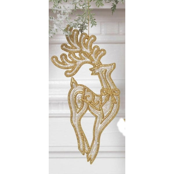 "7"" Gold And White Glittered Standing Reindeer Christmas Tree Ornament"