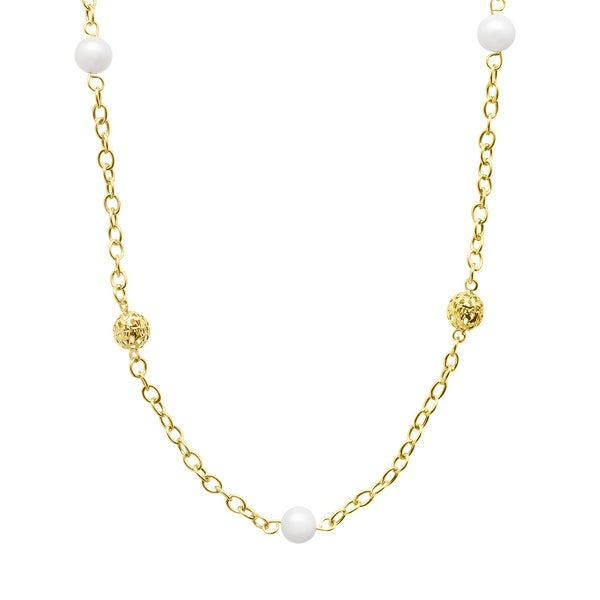 7 mm Freshwater Pearl Station Necklace in 14K Gold