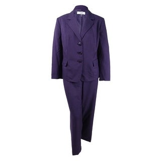 Le Suit Women's Plus Size Three-Button Glazed Melange Pantsuit (22W, Eggplant) - eggplant - 22W