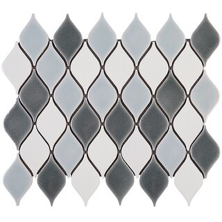 "TileGen. Water Drop 2.3"" x 3.6"" Porcelain Mosaic Tile in Blue White Floor and Wall Tile (10 sheets/10sqft.)"