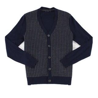 Club Room NEW Navy Blue Mens Size Medium M Houndstooth Cardigan Sweater