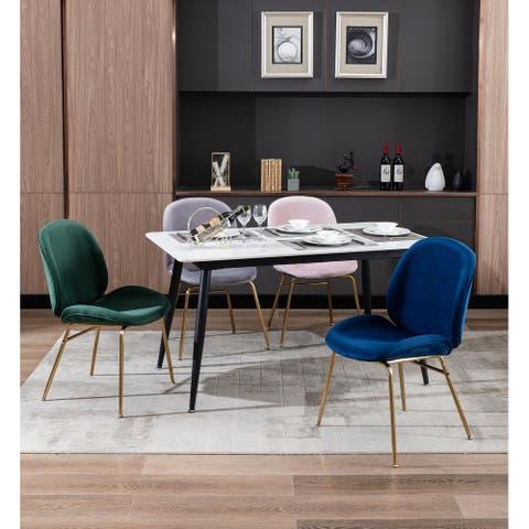 Porthos Home Cace Dining Chair, Velvet Upholstery, Gold Legs, Armless