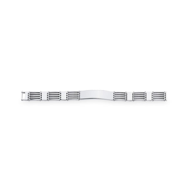 Dolan Bullock Men's Railroad Link ID Bracelet in Sterling Silver - White
