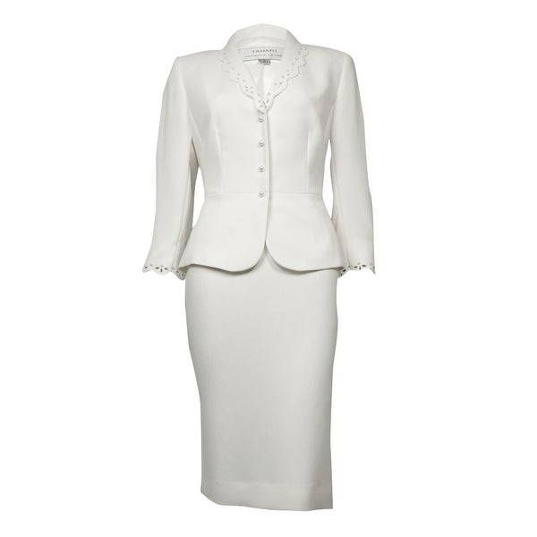 a79ccf50302 Tahari Women's Embellished Eyelet Crepe Scalloped Skirt Suit - Cloud