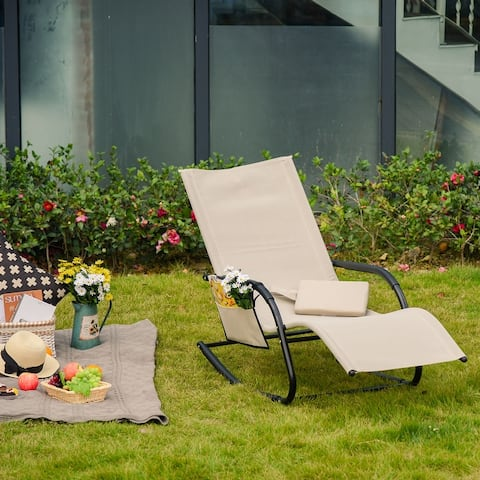 Outsunny Rocking Recliner Seat with Removable Headrest, Breathable Mesh Fabric for Garden and Patio