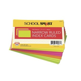 School Smart Ruled Index Card, 90 lb Stock, 3 x 5 Inches, Assorted Neon Color, Pack of 100