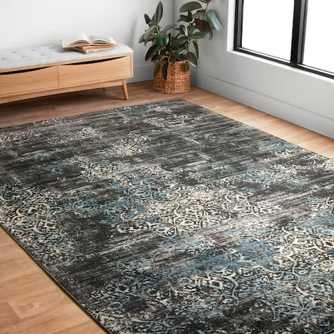 """Alexander Home Augustus Persian Inspired Distressed Area Rug - 5'3"""" x 7'6"""""""