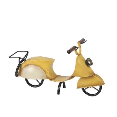 Yellow Motorcycle Metal Table Top Figurine