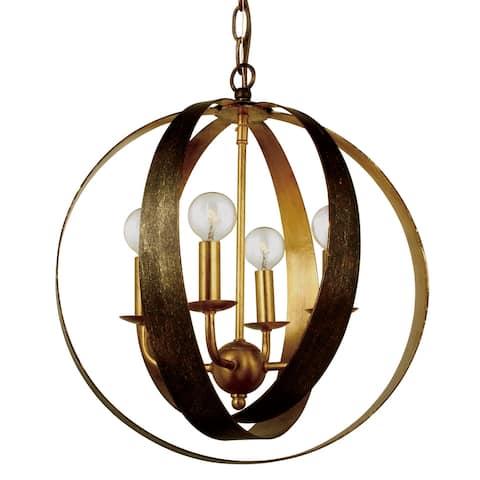 Luna 4 Light Bronze & Gold Sphere Mini Chandelier - 16'' W x 18'' H