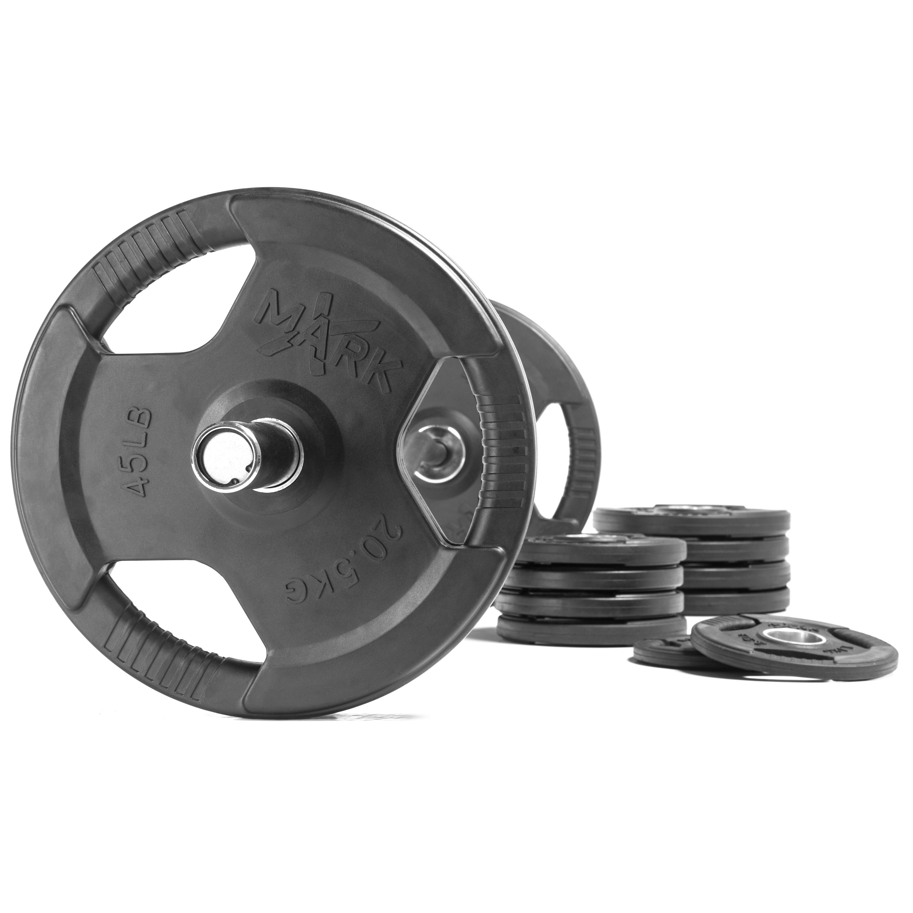 XMark VOODOO-3385-280S Set Olympic Bar and 280 lbs of  Olympic Bumper Plates