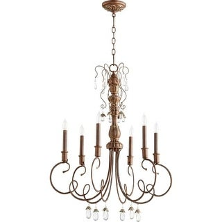 """Quorum International 6044-6 Venice 6 Light 28"""" Wide Single Tier Chandelier with Crystal Accents"""