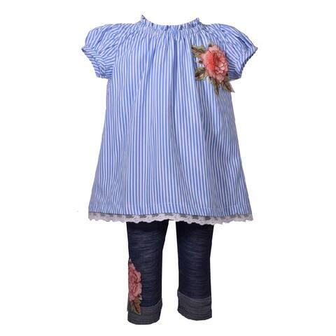 Bonnie Jean Blue Striped Flower Applique Capri Outfit Baby Girls
