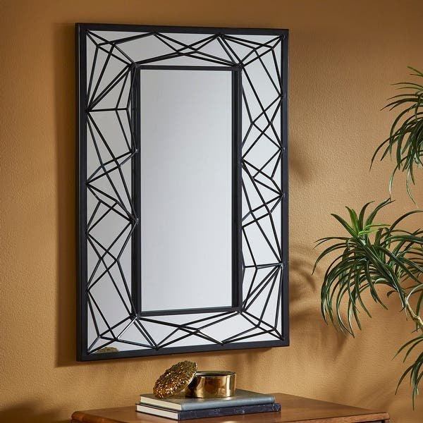 Indrani Rectangular Wall Mirror With Metal Geometric Frame By Inspire Q Bold On Sale Overstock 26565472