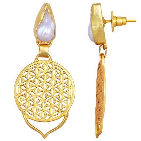 Pearl Brass Fancy Dangle Earrings by Fashionablez