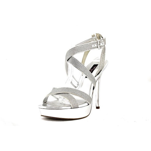 Nina Josette Women Open Toe Synthetic Silver Platform Heel