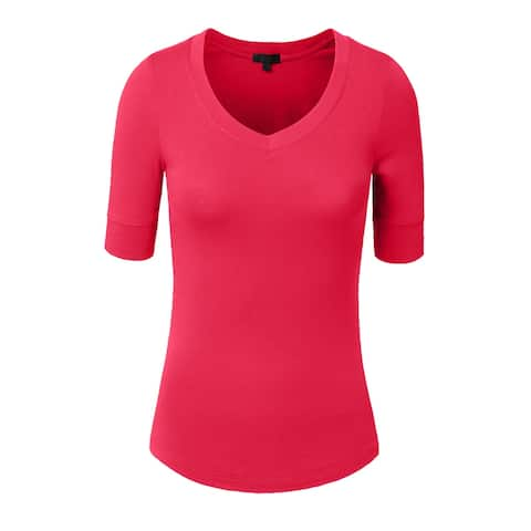 NE PEOPLE Women's 3/4 Sleeve V-Neck Line T-shirt S-3XL [NEWT23]